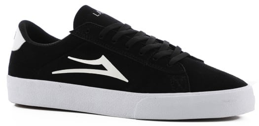 Lakai Newport Skate Shoes - black/white suede - view large
