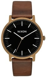 Nixon Porter Leather Watch - brass/black/brown