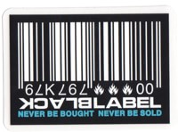 Black Label Barcode Sticker - white/blue