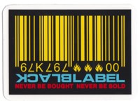 Black Label Barcode Sticker - yellow/blue/red