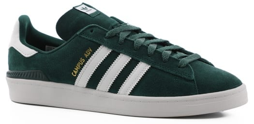 Adidas Campus ADV Skate Shoes - collegiate green/footwear white/gold metallic - view large