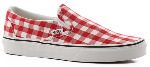 Vans Women's Classic Slip-On Shoes - (gingham) racing red/true white - view large