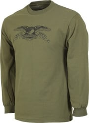 Anti-Hero Basic Eagle L/S T-Shirt - military green/white