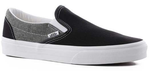 Vans Classic Slip-On Shoes - (chambray) canvas black/true white - view large