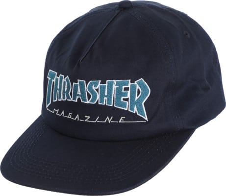 Thrasher Outlined Snapback Hat - navy/gray - view large