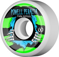 Powell Peralta Park Rippers 2 Park Formula Skateboard Wheels - white/green/light blue (104a)