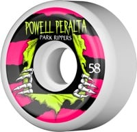 Powell Peralta Park Rippers 2 Park Formula Skateboard Wheels - white/pink/yellow (104a)
