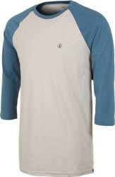 Volcom Solid Heather Raglan 3/4 Sleeve T-Shirt - oatmeal/blue