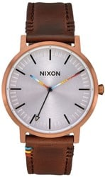 Nixon Porter Leather Watch - copper/brown/serape