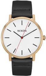 Nixon Porter Leather Watch - gold bar