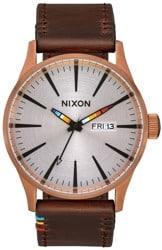 Nixon Sentry Leather Watch - copper/brown/serape