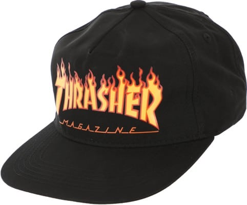 Thrasher Flame Snapback Hat - black - view large