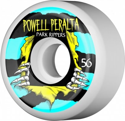 Powell Peralta Park Rippers 2 Park Formula Skateboard Wheels - white/blue/yellow (104a) - view large