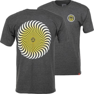 Spitfire Classic Swirl Fade T-Shirt - charcoal heather/white-yellow fade - view large