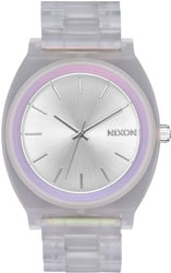 Nixon Time Teller Acetate Watch - clear/silver sunray/rainbow