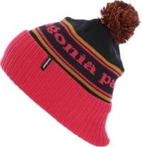Patagonia Powder Town Beanie - park stripe: craft pink w/ navy blue