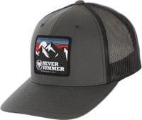 Never Summer Retro Mountain Mesh Flex Fit Trucker Hat - charcoal/black