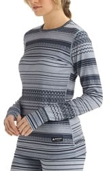 Burton Women's Midweight Base Layer Crew - gray revel stripe