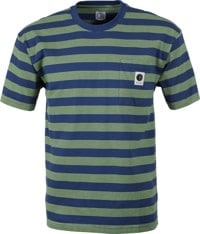 Polar Skate Co. Stripe Pocket T-Shirt - dark blue/lime
