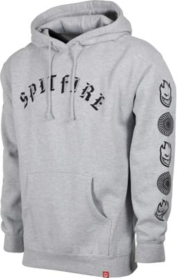 Spitfire Old E Combo Sleeve Hoodie - grey heather/black - view large