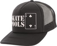 Lowcard Skate Pools Mesh Trucker Hat - all black