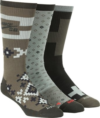 Nike SB Everyday LTWT 3-Pack Sock - medium olive multi-color - view large