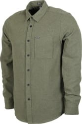 Volcom Caden Solid Flannel Shirt - army green combo