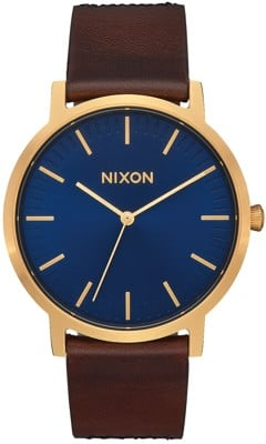Nixon Porter Leather Watch - navy/brown/black gator - view large