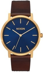 Nixon Porter Leather Watch - navy/brown/black gator