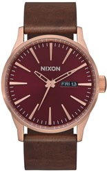 Nixon Sentry Leather Watch - rose gold/burgundy/brown