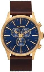 Nixon Sentry Chrono Leather Watch - navy/brown/black gator