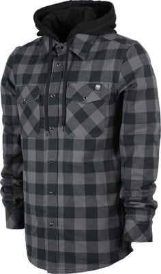 Never Summer Ridgeline Hooded Flannel Shirt - black/grey - view large
