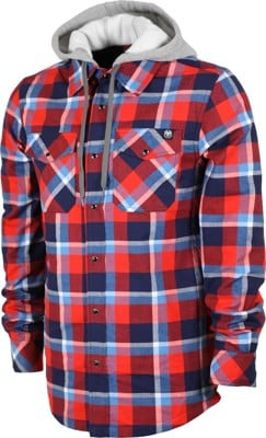 Never Summer Ridgeline Hooded Flannel Shirt - red/white/blue - view large