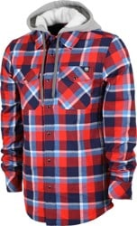 Never Summer Ridgeline Hooded Flannel Shirt - red/white/blue