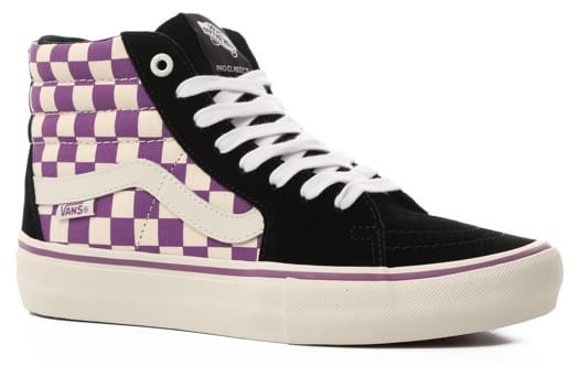 Vans Sk8-Hi Pro Skate Shoes - (checkerboard) black/dewberry - view large