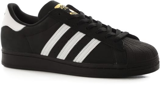 Adidas Superstar Skate Shoes - core black/footwear white/gold metallic - view large