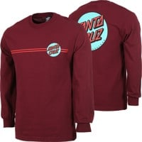 Santa Cruz Other Dot L/S T-Shirt - burgundy/teal
