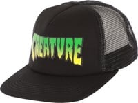 Creature Logo Mesh Trucker Hat - black/grey-checker