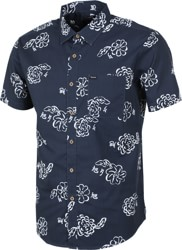 Brixton Charter Print S/S Shirt - navy/off white
