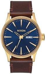 Nixon Sentry Leather Watch - polished gold/navy sunray