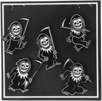 Lurking Class Dancing Reaper Lapel Pin Set - black/white