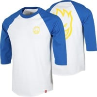 Spitfire Bighead DBL 3/4 Sleeve T-Shirt - white/royal/yellow