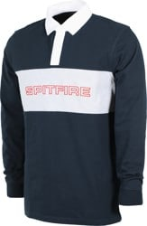 Spitfire Geary L/S Polo Shirt - navy/heather grey/white/red