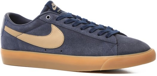 Nike SB Zoom Blazer Low GT Skate Shoes - midnight navy/khaki-gum light brown - view large