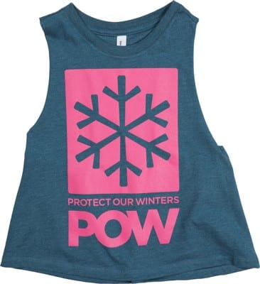 Protect Our Winters POW Stacked Logo Racerback Cropped Women's Tank - heather deep teal - view large
