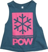 Protect Our Winters POW Stacked Logo Racerback Cropped Women's Tank - heather deep teal