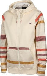 Burton Women's Oak Full-Zip Fleece Hoodie - creme brulee heather/creme brulee woven stripe