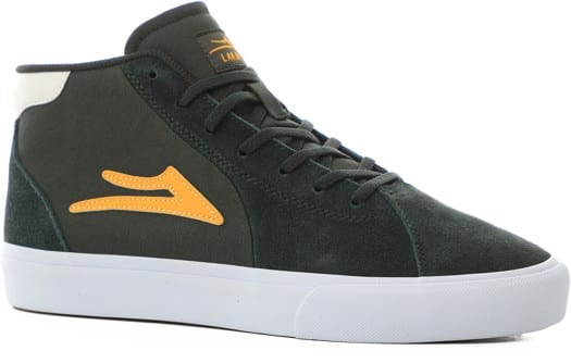 Lakai Flaco II Mid Skate Shoes - olive/yellow suede - view large
