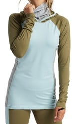 Burton Women's Midweight X Base Layer Long Neck Hoodie - martini olive/ether blue