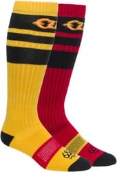 686 Ozzy 2-Pack Snowboard Socks - red pair + yellow pair